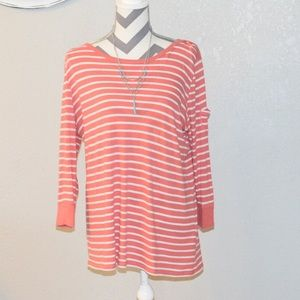 Lucky coral and white striped top